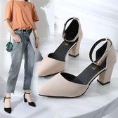 夏季新款韓版百搭粗跟尖頭一字扣羅馬chic包頭高跟涼鞋女中跟  時尚潮流