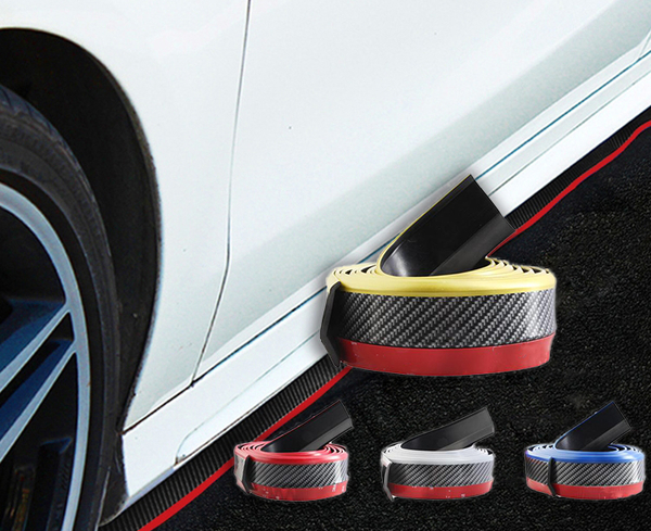 SAMURAI【碳纖維雙色防撞條】2.5米加厚 車用前保險桿保護條 車載膠條 卡夢邊裙 空力套件前下巴