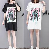 海外發貨不退換大尺碼寬鬆洋裝連身裙308夏裝新款韓版中長款加肥加大碼女裝短袖T恤胖MM(F5044B)