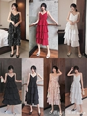 女裝2020年新款韓版法式v領設計感吊帶蛋糕裙波點碎花裙洋裝子 開春特惠
