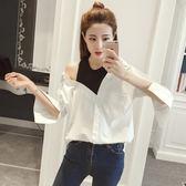春季新款韓范寬鬆百搭長袖露肩上衣不規則拼接假兩件白襯衫女學生