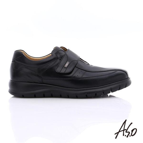 A.S.O 挺力氣墊 油感牛皮魔鬼氈奈米氣墊皮鞋  黑