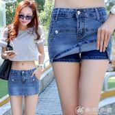 現貨出清牛仔短褲女夏修身半身裙褲裙韓國彈力熱褲子潮 優家小鋪