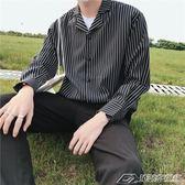 超火韓國風寬鬆順滑條紋襯衣男式休閑帥氣長袖襯衫潮  潮流前線