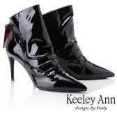 ★2018秋冬★Keeley Ann騎士風格~街頭素面尖頭細跟全真皮短靴(黑色) -Ann系列