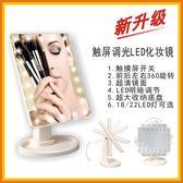 LED台式收納化妝鏡360度旋轉梳妝鏡觸摸感應22燈化妝鏡16燈可調節-享家生活館