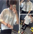 韓版 純色 短袖 春夏 寬鬆 小立領 復古 襯衫