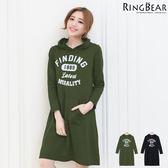洋裝--美式休閒街頭運動風格字母印圖連帽袋鼠口袋長袖棉質洋裝(黑.綠XL-5L)-A253眼圈熊中大尺碼