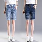 牛仔五分褲 鬆緊腰牛仔褲短褲女夏季寬鬆顯瘦高腰彈力五分褲大碼馬褲-Ballet朵朵
