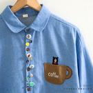 襯衫 小熊造型釦茶杯口袋磨毛棉質襯衫 三...