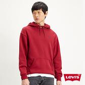 Levis 男款 頂級重磅口袋帽T / 寬鬆休閒版型 / 簡約刺繡Logo / 600GSM厚棉 / 學院紅