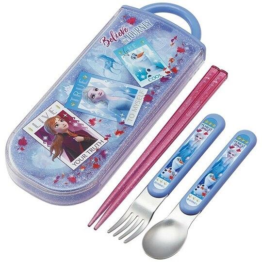 〔小禮堂〕迪士尼 冰雪奇緣 日製滑蓋三件式餐具組《藍紫.相片框》湯叉.匙筷.環保餐具 4973307-47685