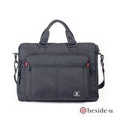 BESIDE U BAP 防盜刷中性多夾層15吋筆電休閒行李箱拉桿電腦包 – 黑色 原廠公司貨