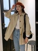 秋裝韓版新款POLO領單排扣純色簡約學生寬鬆長袖風衣外套女裝 伊莎公主