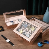 手錶收藏盒 玫瑰金色高檔皮質手錶收納盒腕錶盒子玻璃天窗手錶首飾盒手錬收藏【八折搶購】