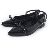 Petite Jolie 鉚釘蝴蝶結瑪麗珍平底鞋-亮黑色