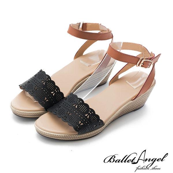 楔型涼鞋 樂活渡假真皮雕花楔型涼鞋(黑)*BalletAngel【18-757bk】【現貨】