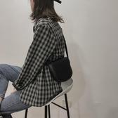 馬鞍包 包包女新款2019斜挎百搭ins高級感洋氣質感簡約馬鞍包網紅小黑包