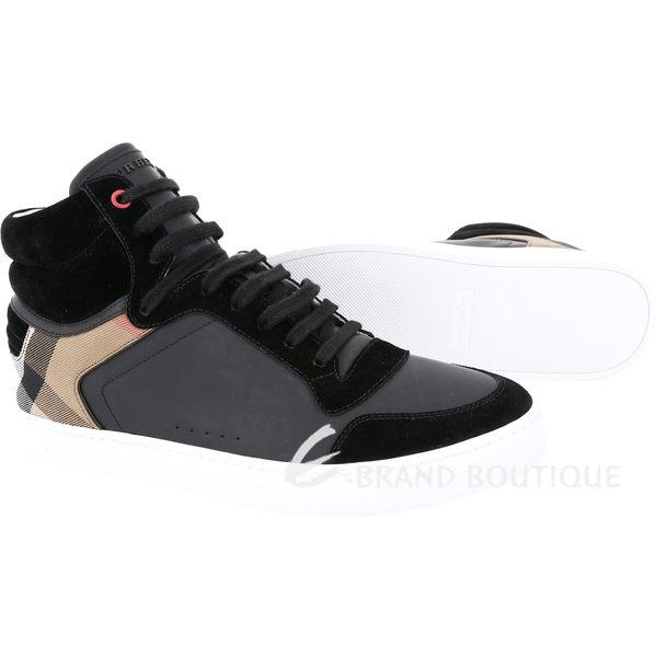 BURBERRY House 格紋拼接皮革高筒運動鞋(男鞋/黑色) 1810574-01
