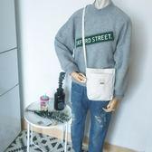 帆布包 韓國簡約零錢包手機包女軟妹小方包斜背包