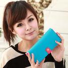 【Miyo皮夾】馬卡龍雙色圓釦兩折長夾(藍桃紅)