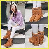 流蘇短靴-靴子真皮流蘇短靴棉鞋女靴棉靴短筒