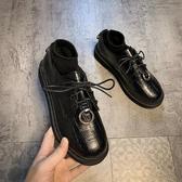 英倫小皮鞋女2020秋季新款韓版時尚百搭網紅ins潮系帶低跟樂福鞋