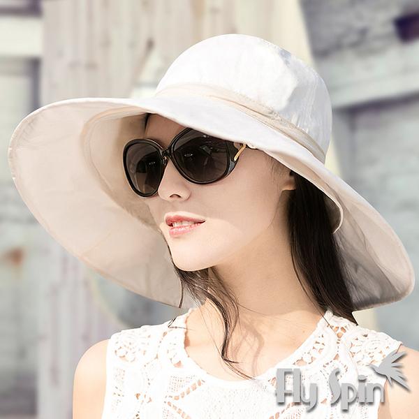 防曬帽子-女款超大眉檐可折疊收納格紋織棉布兩用遮陽淑女帽13SS-S051 FLY SPIN