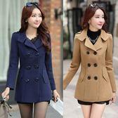 外套/正韓小個子矮加厚呢子黑色chic妮子大衣