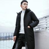 潮牌男士中長款過膝大衣 男款時尚冬天加絨外套 型男冬裝韓版修身棉襖 男生冬天加厚個性外衣