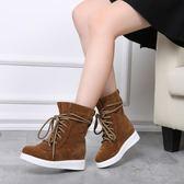 33-34 小碼女鞋 系帶平底馬丁靴英倫風秋季學生內增高靴子