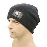 針織毛帽-韓版流行金屬米字旗標男帽子7色73if5【時尚巴黎】
