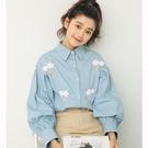 早秋新款韓版小清新學院風甜美少女刺繡寬鬆燈籠袖牛仔藍襯衫 聖誕節狂歡