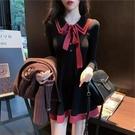 新款女裝秋冬裝小香風法式兩件套裝新年過年衣服針織洋裝子 莎瓦迪卡
