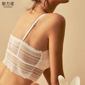 歌力諾抹胸式內衣女無鋼圈夏季薄款白色蕾絲防走光裹胸小背心文胸