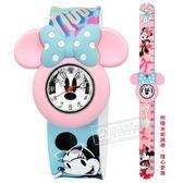 Disney 迪士尼★贈錶帶 / MK-14098L / 米奇米妮 一拍即合 兒童錶 卡通錶 拍拍錶 矽膠手錶 白粉x藍 32mm