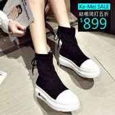 克妹Ke-Mei【ZT53843】重推!歐洲站黑白撞色心機厚底釘釦綁帶短靴