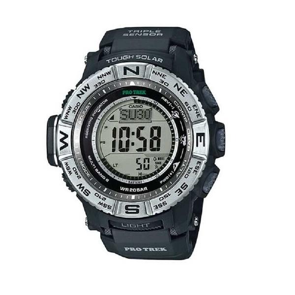 [2美國直購] Casio Pro Trek 男錶 PRW3500-1 Tough Solar Atomic Black Resin Band 53mm Watch
