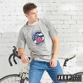 【JEEP】美式立體徽章純棉短袖TEE-灰