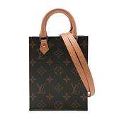 【台中米蘭站】全新品 Louis Vuitton PETIT SAC PLATA 琴譜手提斜背二用包-Mini(M69442-咖)