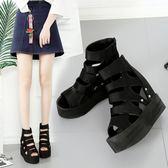韓版時尚羅馬涼鞋百搭超高跟鞋楔型厚底涼鞋女鞋