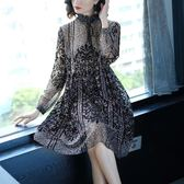 大尺碼洋裝春季新款名媛大碼顯瘦長袖植絨印花雪紡連衣裙女 mc7545『東京衣社』