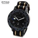 【現貨】ATOP 世界時區腕錶-24時區潮流系列帆布款 - (黑/米黑)