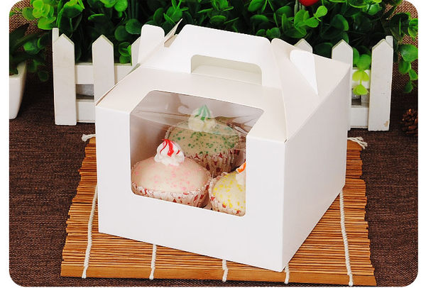 4入 開窗 純白無印手提盒 馬芬瑪芬盒 杯子蛋糕 蛋糕盒 慕斯 奶酪 月餅盒 包裝盒 禮盒 蛋塔盒
