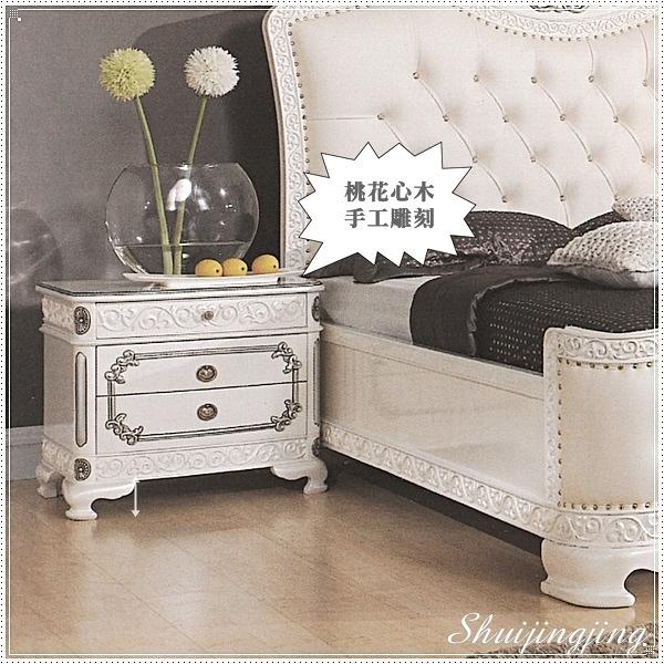 【水晶晶家具/傢俱首選】JF0515-2仙雅娜65×58cm法式桃花心實木象牙白銀邊床頭櫃