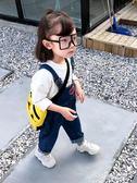 童裝春秋女童1-5歲小童洋氣牛仔背帶長褲休閒背帶褲子潮解憂雜貨鋪