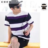 男 橫條紋T恤 色塊 USA美國棉免運費 日本品牌【coen】