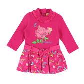 【愛的世界】彈性花與蝶拉鍊長袖洋裝/4歲-台灣製-n4 ★秋冬洋裝