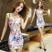 露腰連身裙包臀修身顯瘦印花吊帶裙性感緊身無袖短夜店女裝