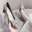 高跟鞋 女士高跟鞋2021春季新款韓版百搭晚晚風溫柔氣質粗跟尖頭淺口單鞋 伊蘿